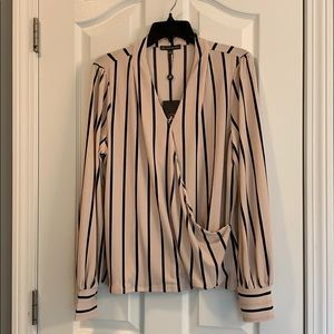 Wrap front long sleeve blouse NWT!